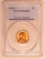 PCGS MS66 RD 1944 S RED LINCOLN WHEAT CENT  1944 S  MS 66 RD