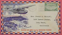 1938 NAVAL COVER USS PENNSYLVANIA SHIP CANCEL W/ CLIPPER AIR MAIL CACHET HAWAII