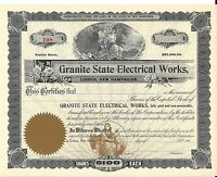 GRANITE STATE ELECTRICAL WORKS.EARLY 1900'S UNISSUED STOCK CERTIFICATE