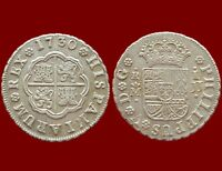 PRADOS 1730 SPANISH COLONIAL COIN SILVER 1 REAL PHILIP V MINT MADRID