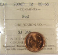 2006P CANADA 1 CENT  MAGNETIC ICCS GRADED MS 65; RED SMALL CENT OR PENNY