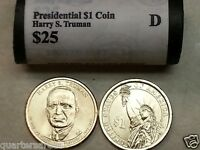 HEAD/TAIL 2015 D MINT HARRY S. TRUMAN PRESIDENTIAL $25 DOLLAR ROLL UNCIRCULATED