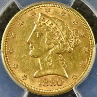 1880 PHILADELPHIA USA GOLD LIBERTY HEAD $5 MOTTO PCGS AU55  KM101