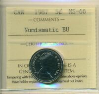 1987 CANADA 5 CENT CERTIFIED ICCS MS 66 AFFORDABLE FOR NEW HOBBYIST