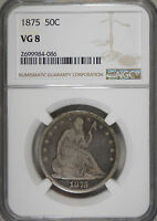 1875 CERTIFIED VG 8 NGC GOOD SEATED LIBERTY HALF DOLLAR 90 SILVER COIN 240