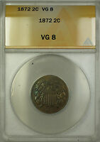 1872 TWO CENT PIECE 2C COIN ANACS VG-8 PM