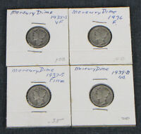 LOT OF 4 MERCURY DIMES RANGING FROM 1935 TO 1939 HOME MOUNTED