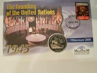 ISLE OF MAN FOUNDING THE UNITED NATIONS 1 CROWN COIN AND DOMINICA COVER STAMPS