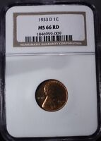 1933 D LINCOLN WHEAT EARS COPPER CENT MINT STATE 66 NGC