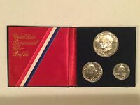 1776 1976 BICENTENNIAL 3 PC  U.S. MINT SILVER PROOF AND UNCIRCULATED SET