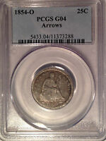 1854 O PCGS G04 LIBERTY SEATED QUARTER 25C   NEW ORLEANS MINT