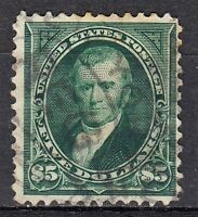 US  278 USED $5 STAMP FROM 1896 SERIES CV= $ 650