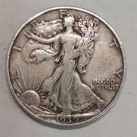 1939 S     WALKING LIBERTY HALF DOLLAR NICE 90 SILVER COIN   124