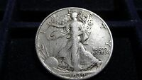 1939 WALKING LIBERTY SILVER HALF DOLLAR IN FINE CONDITION D 28 17