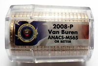 2008-P MARTIN VAN BUREN PRESIDENTIAL DOLLAR SEALED ROLL ANACS MINT STATE 65 OR BETTER
