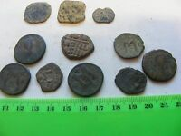 LOT OF 11 ANCIENTS 8 BYZANTINE COINS LARGE SIZESONE SPAIN 1600S,2 UNKNOWN.