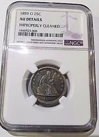 1859 O SEATED LIBERTY QUARTER IN NGC AU DETAILS
