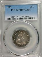 1867 LIBERTY SEATED QUARTER PROOF PCGS PR64CAM
