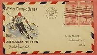 1932 716 WINTER OLYMPIC GAMES 2C BLOCK FDC TORKEL GUNDEL SIGNED PAINTED CACHET
