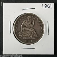 1861 SEATED LIBERTY HALF DOLLAR NICE PHILADELPHIA MINT 50 CENT SILVER COIN