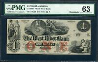 1860 'S JAMAICA VT $1.00 REMAINDER FROM
