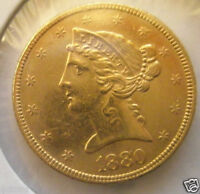 1880 $5 LIBERTY HEAD GOLD HALF EAGLE