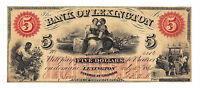 1860 THE BANK OF LEXINGTON NC   FIVE DOLLAR OBSOLETE NOTE NO.6116