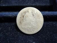 1887 SEATED LIBERTY SILVER DIME IN GOOD CONDITION E 27 17
