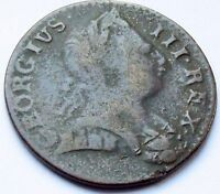 1774 KING GEORGE III BRITISH COLONIAL HALFPENNY   NON REGAL YOUNG HEAD