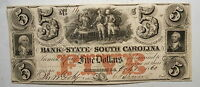1860  BANK OF THE STATE OF SOUTH CAROLINA $5 FIVE DOLLARS OBSOLETE CHAU  14