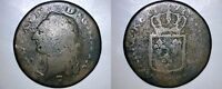 1791 FRENCH 1 SOL WORLD COIN   FRANCE   BORDEAUX MINT
