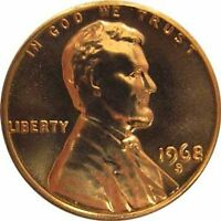 1968 S GEM BU PROOF LINCOLN MEMORIAL BRILLIANT UNCIRCULATED PENNY US COIN PF