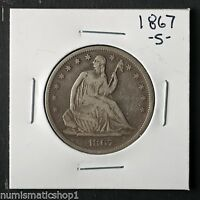 1867 S SEATED LIBERTY HALF DOLLAR SAN FRANCISCO MINT 50 CENT SILVER COIN