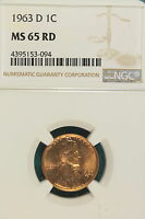1963 D NGC MS 65 RED LINCOLN MEMORIAL CENT E