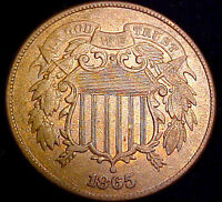 1865 TWO CENT 2C PIECE WITH LUSTER  NEAR BU DETAILS  52YM