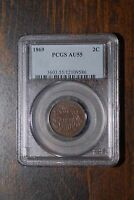 1869 TWO CENT PIECE, PCGS AU55