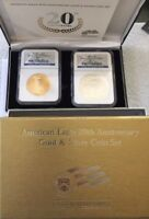 2006 W 2 COIN BURNISHED GOLD & SILVER EAGLE SET MS 69 NGC 20TH  SET