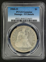 1846 O SEATED LIBERTY SILVER DOLLAR PCGS VF DETAILS DAMAGE  157747