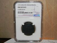 1793 WREATH VINE AND BARS LARGE CENT NGC FINE DETAILS