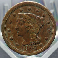 1854 BRAIDED HAIR TYPE LARGE CENT VF   CONDITION