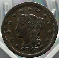 1847 BRAIDED HAIR TYPE LARGE CENT FINE  CONDITION