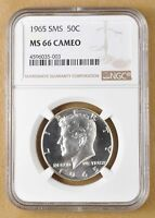 1965 SMS KENNEDY SILVER HALF DOLLAR NGC MS66 CAMEO