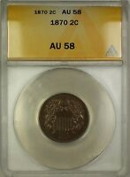1870 TWO CENT PIECE 2C COIN ANACS AU-58