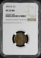 1913-S LINCOLN WHEAT CENT NGC VF-25 BN -157052