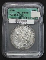 1885 MORGAN DOLLAR ICG MINT STATE 63 HOT 50 VAM-1B