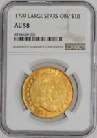 1799 $10 GOLD CAPPED BUST LARGE STARS OBV AU58 NGC