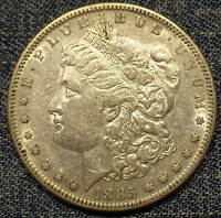 1885-S MORGAN SILVER DOLLAR VAM 10 R-5 AU COIN WITH GREAT MINT LUSTER