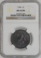 1794 LARGE CENT 1C HEAD OF 1795 MS63 BN NGC