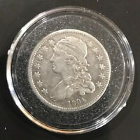1834 25C CAPPED BUST SILVER QUARTER.