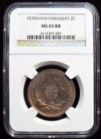 PARAGUAY: REPUBLIC 2 CENTESIMOS 1870-SHAW MINT STATE 65 RED AND BROWN NGC.